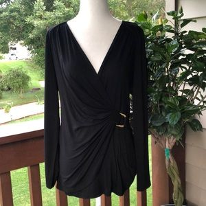 Cache Black Faux Wrap Top with Side Clasp